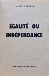 """Couverture du livre """"Égalité ou indépendance""""."""