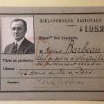 Carte de bibliothèque de Barbeau, à Paris