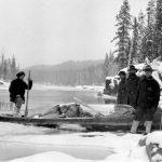 Surveyors on Lower Canyon of Upper Nechako River; surveyors are, Jack Braithwaite, George Coply, and Olaf Larson