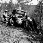 Bedaux expedition; tractors greasy sloping trail - 1934
