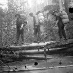 Survey crew crossing Leon Creek