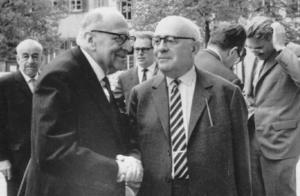 Max Horkheimer et Theodor W. Adorno (Heidelberg, 1964).